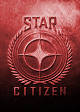 Port-lit, metallic, Star Citizen Logo comprising a single cruciform star encapsulated by a wreath and set betwwen the words STAR and CITIZEN on a backing rectangle